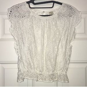 White lace blouse with banded bottom